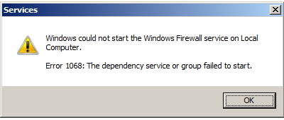 Windows could not start the Windows Firewall service on Local Computer. Error 1068: The dependency service or group failed to start.