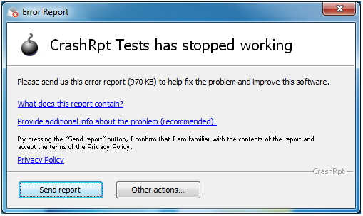 CrashRpt Tests has stopped working