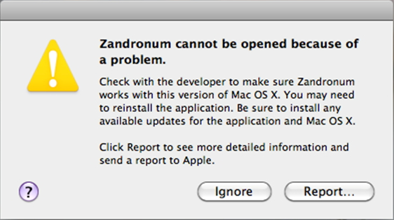 Zendronum cannot be opened because of a problem.