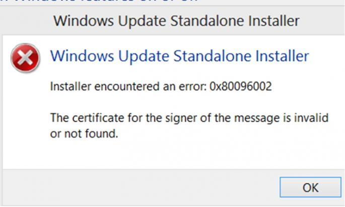 Windows Update Standalone Installer Installer encountered an error: 0x80096002